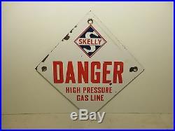 12x12 original Skelly Oil Co. Porcelain sign Rare Danger high pressure gas line