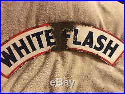 1920s-30s Atlantic Gas Pump Globe White Flash Porcelain Sign Topper 2 Sided