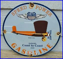 1925 Union Speed & Power Aero Gasoline Porcelain Gas Station Pump Sign Airfields
