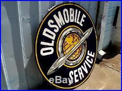 1930-1950's ORIGINAL OLDSMOBILE SERVICE DSP PORCELAIN DEALERSHIP SIGN 60 INCH