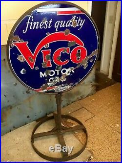 1930's Original Vico Motor Oil Double Sided Porcelain Sign and Curbside Stand