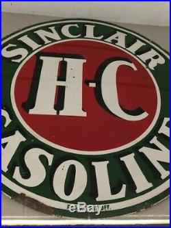 1930's Sinclair HC Gasoline 72 Two Sided Porcelain Sign, Great Patina, Used