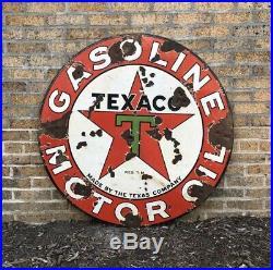 1930s 42 Texaco Gasoline Motor Oil Double-Sided Porcelain Vintage Sign Gas