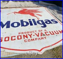 1932 Mobile Gas Socony Vacuum Double Sided Porcelain 48 Pegasus Shield Sign