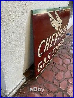 1940's Chevron Chevron Gas Station Porcelain sign original read Desc