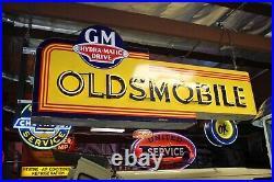 1940s-50s Oldsmobile double-sided porcelain neon dealership sign