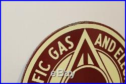 1940s Pacific Gas & Electric Service P. G. And E Diecut Porcelain Advertising Sign