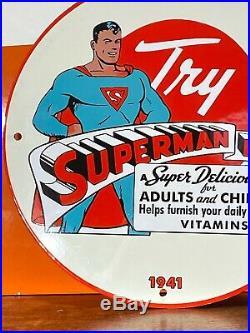 1941''superman Bread'' Gas & Oil Pump Plate Porcelain 12 Inch''super Man'