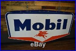 1950's Pegasus Mobil Gas Socony Porcelain Sign With Bracket NICE Service Station