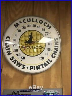 1950sMcCULLOCH CHAIN SAWS Thermometer ADVERTISING SIGN Add To Porcelain Sign