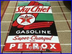 1955 Texaco Skychief 22 X 12 Porcelain Sign