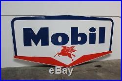 1956 Original Mobil Oil double-sided porcelain pegasus service station sign