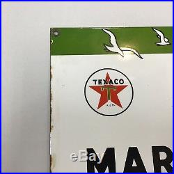 1957 Texaco Marine Lubricants Sign Porcelain On Steel Very Good Condition RARE