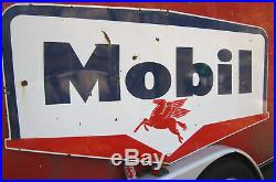 1959 Mobil Oil Gas Auto Station USA Porcelain Pegasus Flying Horse Art Tool Sign