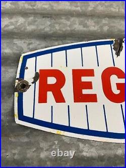 1960s CHAMPLIN REGULAR GASOLINE Porcelain Gas Pump Plate Sign Gas & Oil