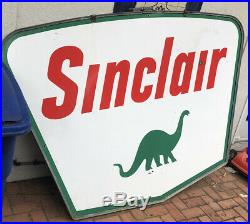 1961 Sinclair Double Sided Porcelain Gas And Oil Sign! 5x7 Feet! Nice Condition