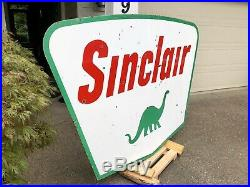 1961 Sinclair Gasoline Porcelain Double Sided Sign Jumbo