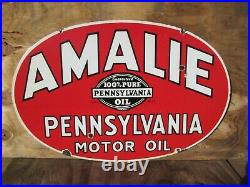 20x30 authentic org. 1920 Amalie Pennsylvania Gas and Oil Co. Porcelain Sign