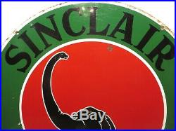 22 Round authentic org. 1930 Sinclair Lubricantes Porcelain Sign Gas & Oil Co