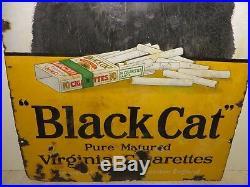 24x36 Rare 1915 antique Black Cat Cigarettes Londan Porcelain Gas Oil Adv. Sign