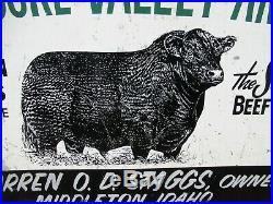 24x36 authentic 1940 Treasure Valley Angus Beef Cattle Farm nice Painted Sign