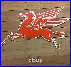 24x 40 XL Vintage Mobiloil Lone Pegasus Porcelain Service Station Sign