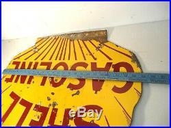 25 x 21 Original Antique Shell Porcelain Gas & Oil Adv. Sign Rare Design
