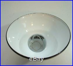 2-1940's TAN 8 Gooseneck Green Porcelain Sign Light Industrial Gas Station VTG