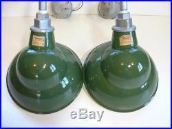 2 NOS Quad 10 Gooseneck Green Porcelain Sign Light Industrial Gas Station VTG