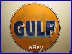 30 Round DS 1930 authentic Gulf Original Porcelain Gas & Oil Advertising Sign