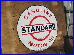 30 Round authentic org. 1920 Standard Oil & Gasoline Co. Porcelain Sign