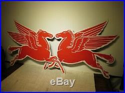 30x44 authentic R & L pr 1950 Mobil Pegasus T-53 Porcelain Sign Gas & Oil Co