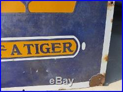 3x5 ft. Rare authentic antique Power Lube Tiger Oil & Gas Company porcelain sign