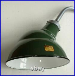 40s 10 Benjamin Gooseneck Green Porcelain Sign Light Industrial Gas Station VTG