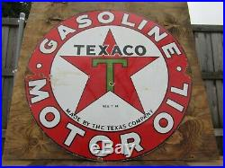 42.5 Round authentic org. DSP 1930 Texaco Gasoline & Motor Oil Porcelain Sign