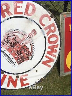 42 Round authentic Red Crown Gasoline Porcelain Sign Gas & Oil Co