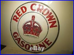 42 Round authentic org. 1930 Red Crown Gasoline Porcelain Sign Gas & Oil Co