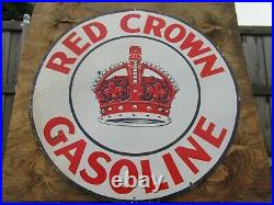 42 Round authentic org. SSP 1930 Red Crown Gasoline & Oil Co. Porcelain Sign