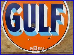 42 authentic DSP org. 1940 Gulf Gas & Oil Co. Porcelain Sign