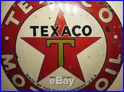 42 original 1940 single sided Texaco Motor Oil & Gas Texas Co. Porcelain Sign