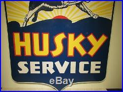 45x42 Rare Original Vintage Antique 1930 Husky Service Porcelain Oil & Gas Sign