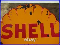 48 Shell shaped DSP authentic org. Oct 1937 Shell OIL & Gas Co. Porcelain Sign