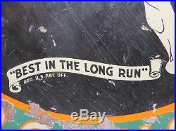 48 original antique 1920 Marathon Porduct Best in the Long Run Porcelain Sign
