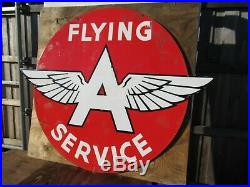 48x58 authentic DSP org. 1930 Flying A Service Gas & Oil Co. Porcelain Sign