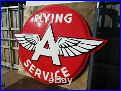 48x62 authentic org. 1940 3D Flying A Service Gas & Oil Co. Porcelain Sign