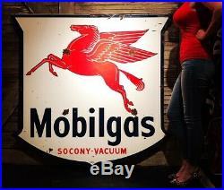 58x56 1955 Mobil Pegasus Oil Gas Porcelain Sign