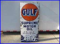 5x2 ft. Rare antique org. Gulf Supreme Motor Oil withCar Graphic porcelain sign