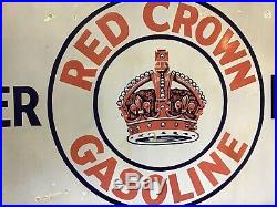 60x28 Red Crown Gasoline Power Mileage Single Side Porcelain Sign ADV-253-24