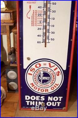 6' Porcelain Polarine Oil, Sandard Oil Co Thermometer 1920s 1930s