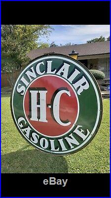 6ft Sinclair HC Porcelain Sign With ring Excellent Condition Double Sided